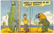 1950s Comic PHOTOGRAPHER Camera BIG EXAGGERATED FISH Snapshot FISHING POLE Catch