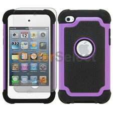 Hybrid Rugged Rubber Matte Case+Screen Guard for Apple iPod Touch 4 4th Purple
