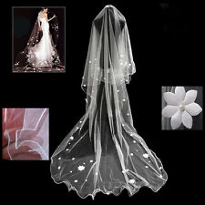 58v Romantic Bridal 3m Long Ivory Applique Flower Wedding Veil w Pearls