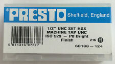"""Presto UK 1/2"""" x 13tpi HSS UNC Set of 3 taps / Direct from RDGTools"""