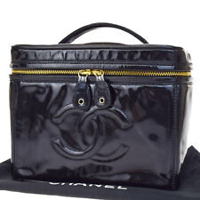 Auth CHANEL CC Logos Vanity Hand Bag Patent Leather Black Italy Vintage 02F889