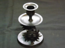 "Vintage Retro Black Metal Candle Stick Holder with a Sun Faces design 5"" Tall"