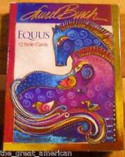 12 Leanin Tree Note Cards Laurel Burch Equus Colorful Horses Full Color USA
