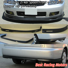 SPN Style Front + CTR Rear Lip (Urethane) Fits 99-00 Honda Civic 2dr