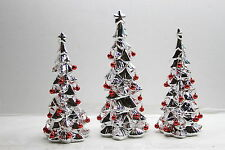 Set of 3 Ceramic Trees with Bells by Valerie RED  RTL$44