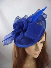 Royal Cobalt Blue Bow Saucer Sinamay Fascinator - Occasion Wedding Races Hat