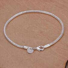 Fashion 925 Sterling Silver Plated 3MM Snake chain Bracelet for EUR bead H187