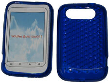For HTC Wildfire S A510e G13 Pattern Soft Gel Jelly Case Protector Cover Blue UK