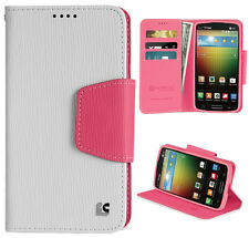 WHITE PINK INFOLIO WALLET CREDIT CARD ID CASE FOR VERIZON LG LUCID-3 VS876 PHONE