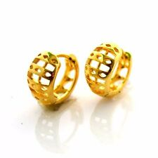 24k Yellow Gold Filled Earrings 13mm Carved Hoop GF Charm Fashion Jewelry Womens