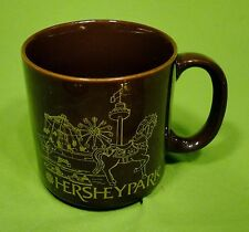 Hershey Park Coffee Mug Tea Cup Hot Chocolate Brown Gold Paddle Boats Horse Pony