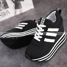 Womens Casual Students Lace Up High Platform Wedge Sneakers Trainer Shoes