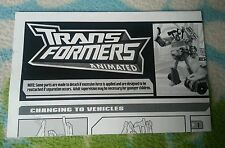 Transformers ANIMATED STARSCREAM PROWL INSTRUCTION BOOKLET
