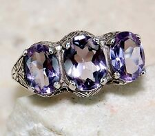 3CT Amethyst 925 Solid Sterling Silver Art Deco Filigree Ring Sz 8, F6-10