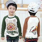Fashion Kids Toddlers Boys Colorful Pizza Letter 100%Cotton Tee Tops T-Shirt New
