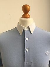 Fred Perry   Tipped Button Down Contrast Collar Polo Large Light Smoke Blue