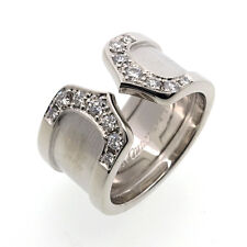 Auth Cartier 2C Diamond Ring Size LM 750 White Gold #46 US4 HK8.5 EU46 Used F/S