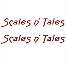 """""""Scales n Tales"""" PAIR OF BOAT YACHT NAMES DECAL STICKER GRAPHICS -Colour Choice"""