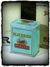 Primitive Vintage Victorian Reproduction Old`Black Bird Tea Canister Tin`Aged