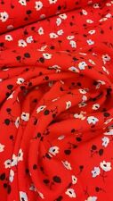 Stunning soft flowing bright red printed ditsy flower viscose material fabric