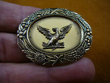 (b-bird-54) Bald eagle flying bird oval flower repro BRASS pin pendant eagles