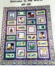 WELCOME TO THE WORLD Baby Nap Quilt Pattern Alphabet Toyes Train Babies Boat
