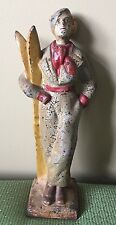 Antique Cast Iron Lady Skier Doorstop 1920 Full Figure 12 3/8""