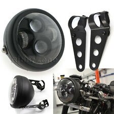 "For Cafe Racer SX650 CB Black LED 6.5"" Projector Headlight Bracket Motorcycle"