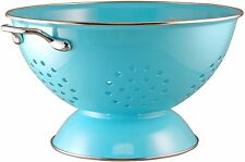 Turquoise Kitchen Colander 5 Quart Strainer Stainless Steel Rim Dishwasher Safe