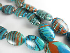 Blue Rainbow Calsilica Flat Oval 18x13mm Bead Strand Semi-Precious 1 str