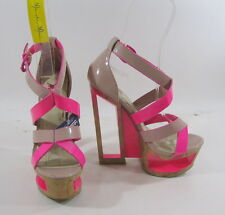 "New  nude/pink 6""wedge high heel  2""platform sandals shoes by shiekh SIZE 6.5"