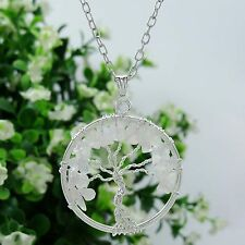 Rose Quartz Tree Of Life Chakra Pendant Gemstones Chips Reiki Spiritual Healing