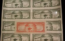 SCARCE Specimen Color trial sheet of 8 banknotes Central Bank of China 20c