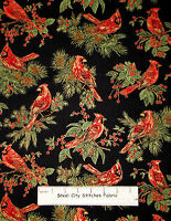 Cardinal Pine Branches Christmas Cotton Fabric By Yard Timeless Treasures CM1266