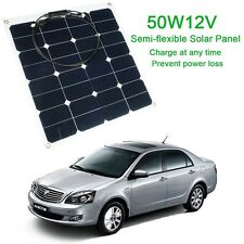 12V 50W MEGAVOLT Semi-Flexible Solar Panel kit Caravan Camping Battery Charging