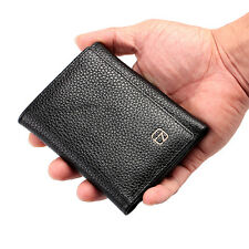 Men Leather Trifold ID Credit Card Cash Money Clip Clutch Wallet Checkbook Black