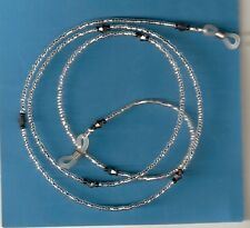 """Eyeglass Chain Silver Lined Clear~Crystals~Mothers Day Gift~28"""" Buy 3 SHIP FREE"""