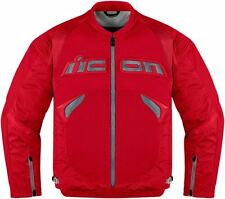 ICON SANCTUARY JACKET MOTORCYCLE LEATHER STREET SPORT BIKE MENS RED MEDIUM