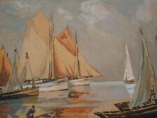 Tableau aquarelle gouachée signé Mermoud Vieux gréements au port Marine 19ème