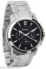 Fossil Silver Stainless Steel Black Chronograph  Men Watch FS4532
