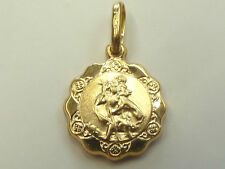 New 9ct Yellow Gold Very Small Scalloped Edge St Christopher * Fully Hallmarked*