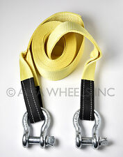 "4x30 4"" 22,000 lbs Tow Strap w D Rings 30 ft winch tree saver snatch recovery"