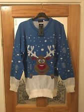 New Ladies/Men's Blue Reindeer Christmas Winter Jumper In Large