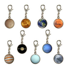 9x Planet Solar System Silver Plated Clip Charms for bracelet space astronomer