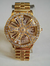 Gold finish men's spinner  hip hop bling rapper style  fashion watch