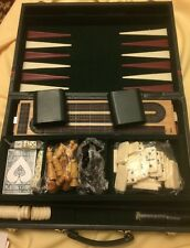 7 In 1 Game Set Chess Checkers Dominoes Cribbage Poker Backgammon Cards