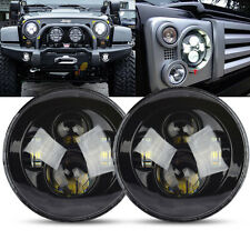 """2x For Jeep Wrangler 7"""" Inch Round H13 H4 45W LED Projector Headlights BLACK"""