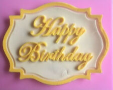 Happy Birthday Plaque Silicone Mold for Fondant, Gum Paste, Chocolate, Crafts