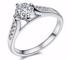 D/VVS1 Diamond Engagement Ring 1 Carat Round Cut 14k White Gold Bridal Jewelry