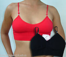 One seamless bra top with removable straps BLACK smooth FREE SHIPPING TO U.S.A.